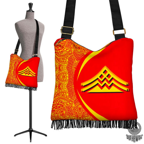 Image of Hawaii Crossbody Boho Handbag Mauna Kea Polynesian - Circle Style Red And Yellow - AH - J71 - Alohawaii