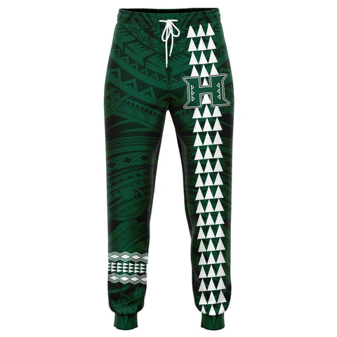 Image of Hawaii Warrior Helmet Football Green Kakau Joggers