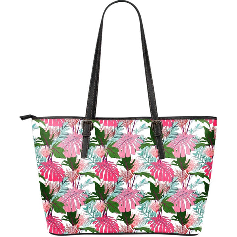 Hawaii Pink Monstera And Green Tropical Leaves White Large Leather Tote - AH - J71 - Alohawaii