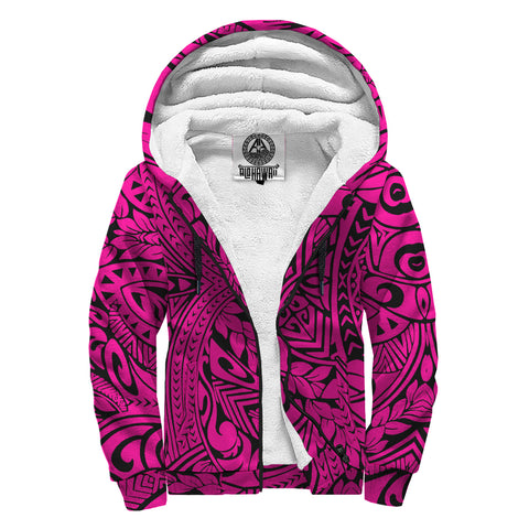 Image of Hawaii Polynesian Culture Pink Sherpa Hoodie - AH - J6 - Alohawaii