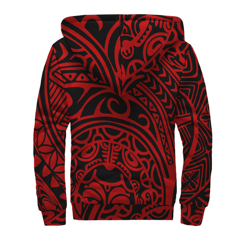 Polynesian Hawaiian Style Tribal Tattoo Hawaii Sherpa Hoodie Red - AH - J6 - Alohawaii