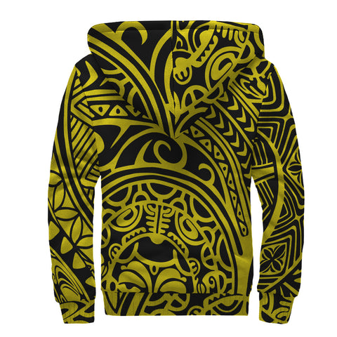 Polynesian Hawaiian Style Tribal Tattoo Hawaii Sherpa Hoodie Yellow - AH - J6 - Alohawaii