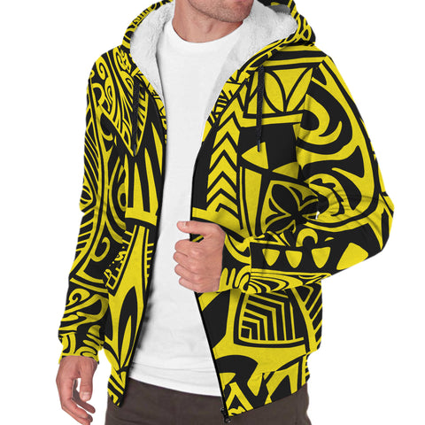 Image of Polynesian Hawaiian Style Tribal Tattoo Hawaii Sherpa Hoodie Yellow - AH - J6 - Alohawaii