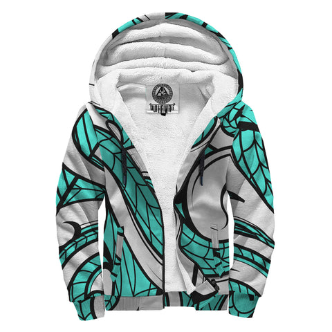 Image of Polynesian Maori Ethnic Ornament Hawaii Sherpa Hoodie Yello Turquoise - AH - J6 - Alohawaii