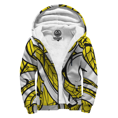 Polynesian Maori Ethnic Ornament Hawaii Sherpa Hoodie Yellow - AH - J6 - Alohawaii