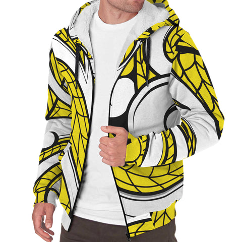 Image of Polynesian Maori Ethnic Ornament Hawaii Sherpa Hoodie Yellow - AH - J6 - Alohawaii