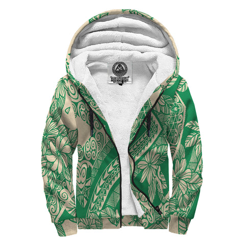 Image of Polynesian Tropic Plumeria Mix Hawaii Sherpa HoodieGreen  - AH - J6 - Alohawaii