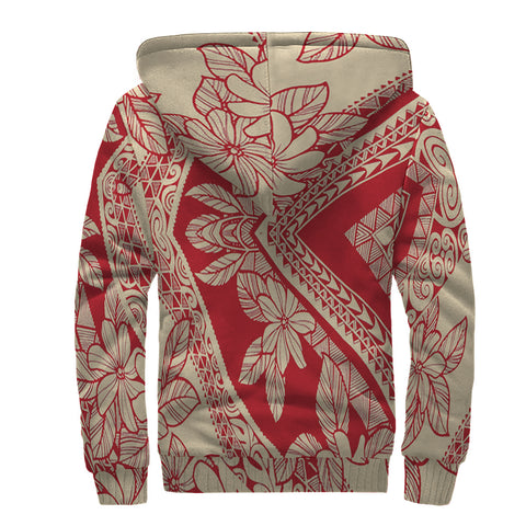 Image of Polynesian Tropic Plumeria Mix Hawaii Sherpa Hoodie - AH - J6 - Alohawaii