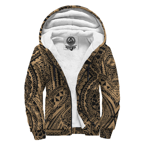 Polynesian Symmetry Hawaii Sherpa Hoodie Gold - AH - J6 - Alohawaii