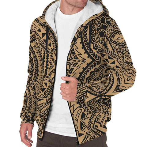 Image of Polynesian Symmetry Hawaii Sherpa Hoodie Gold - AH - J6 - Alohawaii