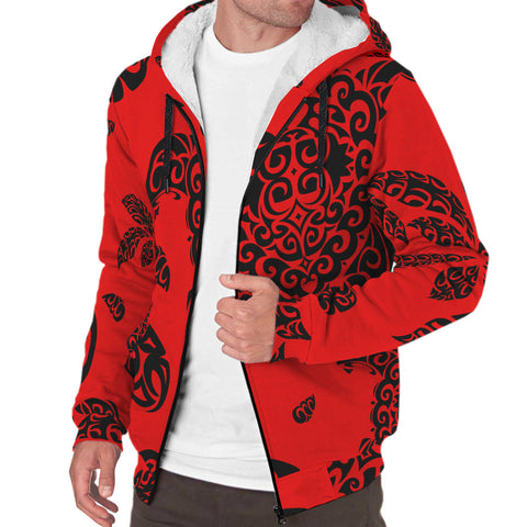 Image of Polynesian Turtle Palm And Sea Pebbles Hawaii Sherpa Hoodie Red - AH - J6 - Alohawaii