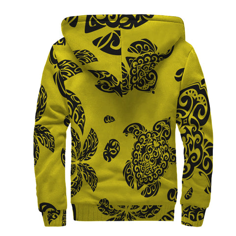Image of Polynesian Turtle Palm And Sea Pebbles Hawaii Sherpa Hoodie Yellow - AH - J6 - Alohawaii