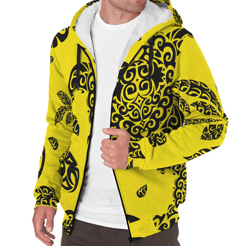 Polynesian Turtle Palm And Sea Pebbles Hawaii Sherpa Hoodie Yellow - AH - J6 - Alohawaii