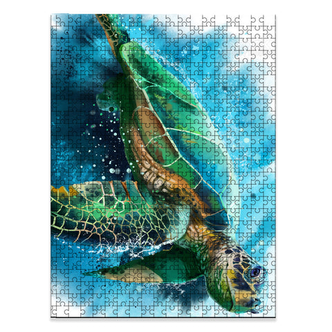 Hawaii Beach Sea Turtle Swimming Jigsaw Puzzle - AH - J5 - Alohawaii
