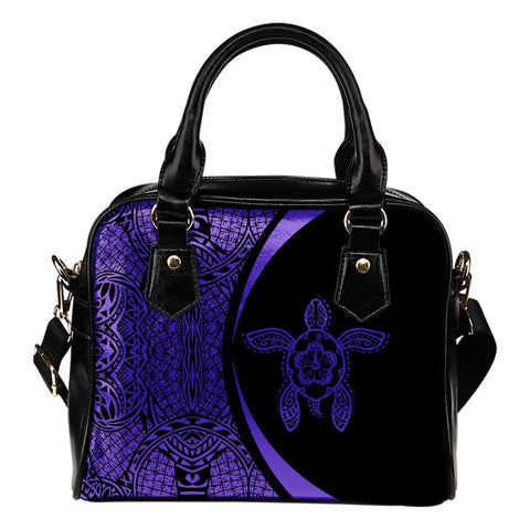 Hawaii Turtle Polynesian Shoulder Handbag - Circle Style Purple - AH - J7 - Alohawaii