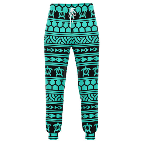 Image of Polynesian Tattoo Tribal Turquoise Joggers