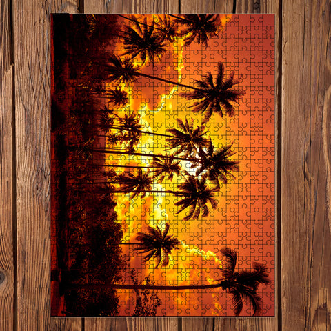Coconut Palms On Sand Beach Jigsaw Puzzle - AH - J5 - Alohawaii