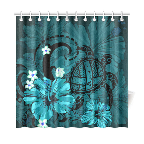 Hawaii Turtle Poly Tribal Turquoise Shower Curtain - AH J9 - Alohawaii