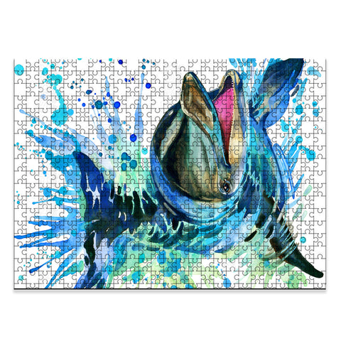 Hawaii Funny Dolphin Watercolor Jigsaw Puzzle - AH -J5 - Alohawaii
