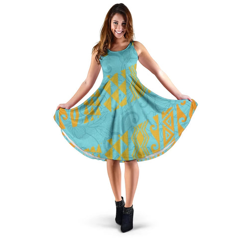 Hawaii Hibistus and Kakau Pattern Midi Dress - AH J5