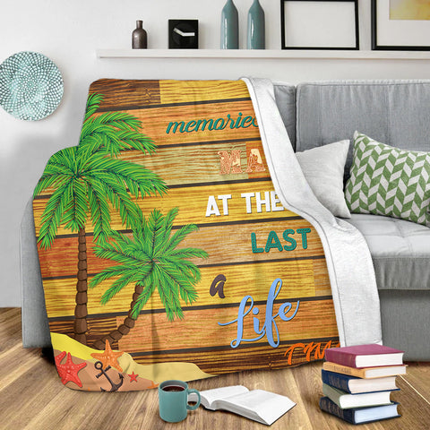 Hawaii Coconut Tree Beach Starfish Premium Blanket - Summer Color - AH JW