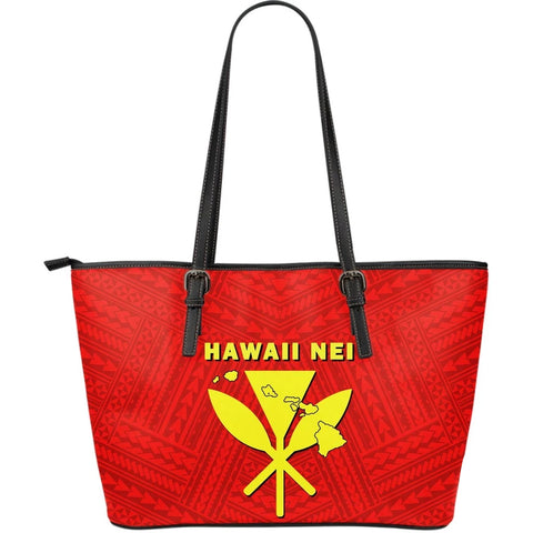 Hawaii Kanaka Polynesian Large Leather Tote Bag - AH - J71 - Alohawaii