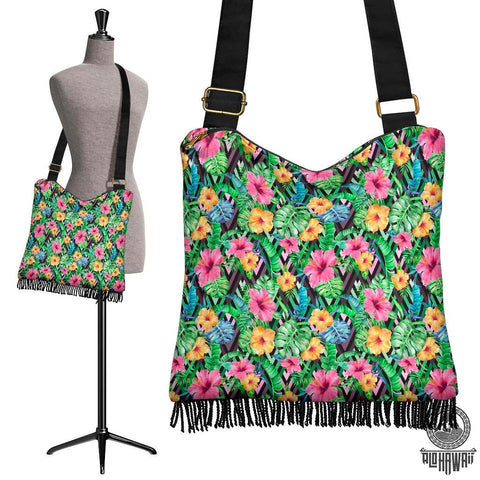 Hawaii Tropical Hibiscus Banana Leafs Crossbody Boho Handbag - AH - J71 - Alohawaii