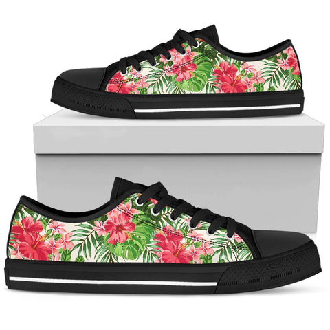 Image of Hawaii Green Hibiscus Palm Low Top Shoe - AH J2