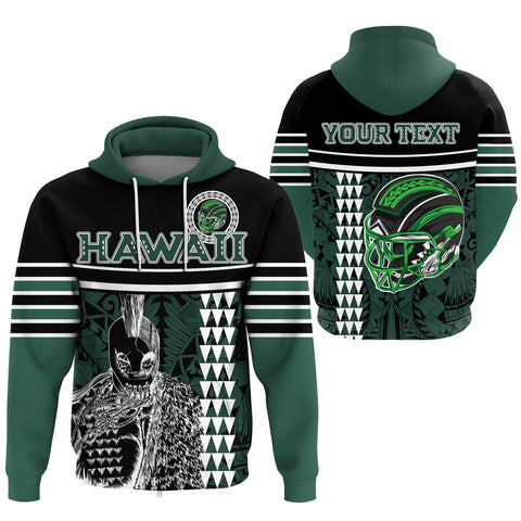 Hawaii Kakau Polynesian Warrior Football Hoodie