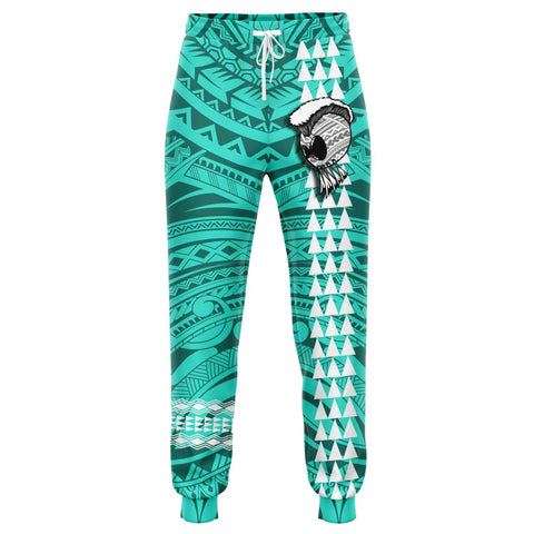 Image of Hawaii Warrior Map Turquoise Kakau Joggers