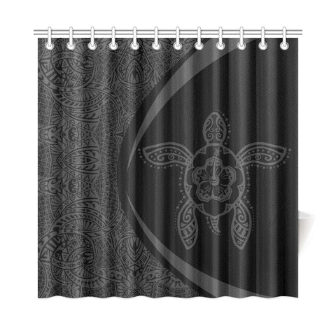 Hawaii Turtle Polynesian Shower Curtain-Circle Style Gray - AH - J7 - Alohawaii