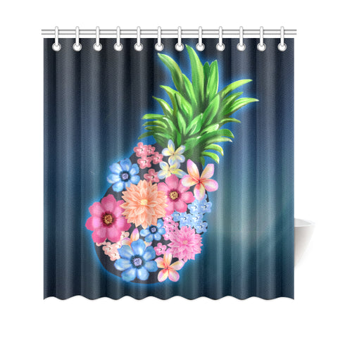 Pineapple Hibiscus Pattern Shower Curtain - AH J9 - Alohawaii
