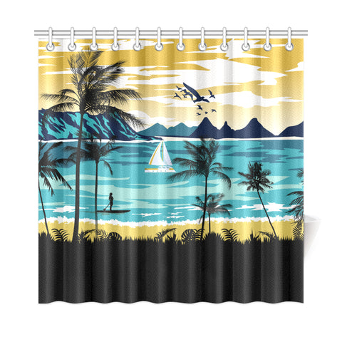 Hawaiian Poster View Classic Shower Curtain - AH J9 - Alohawaii