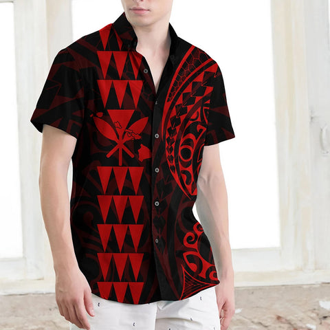 Kanaka Map Men's Short Sleeve Shirt Red - AH J4 - Alohawaii