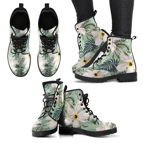 Hawaii Light Green Hibiscus Leather Boots - AH J2