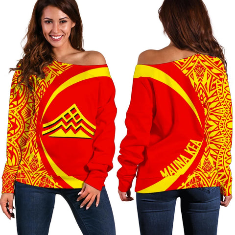 Hawaiian Mauna Kea Polynesian Women's Off Shoulder Sweater