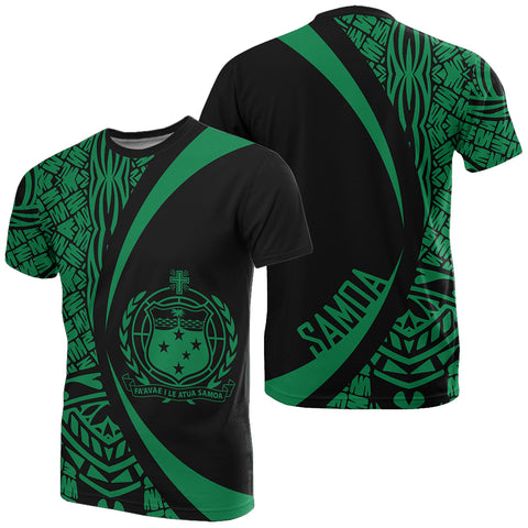 Image of Samoa Green Polynesian T-Shirt - Circle Style