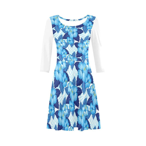Hibiscus Blue Art Sleeve Sundress - AH