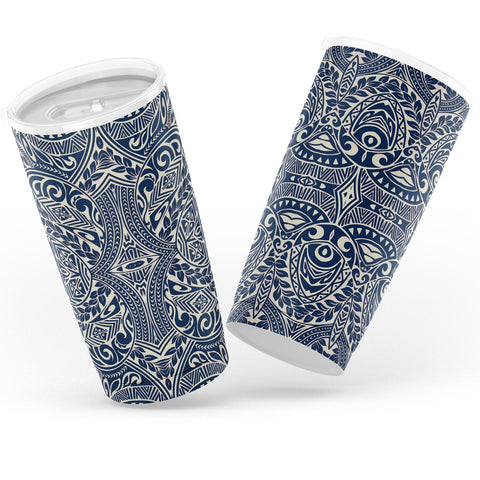 Hawaii Polynesian Culture Blue White Tumbler - AH - J6 - Alohawaii