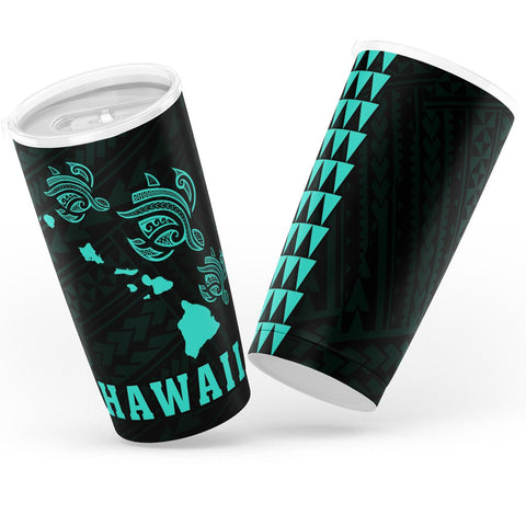 Kakau Polynesian Three Turtles Map Hawaii Tumbler - Turquoise - AH - J6 - Alohawaii