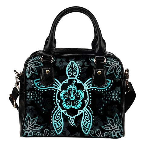 Turtle And Hibiscus Shoulder Handbag 10 - AH - Alohawaii