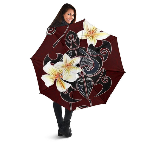 Image of Turtle Poly Tribal Plumeria Red Umbrella - AH - J1