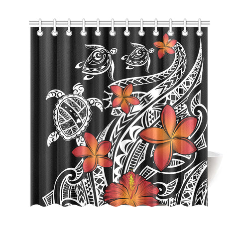 Hawaiian Map Turtle Swim Plumeria Polynesian Shower Curtain - AH J9 - Alohawaii