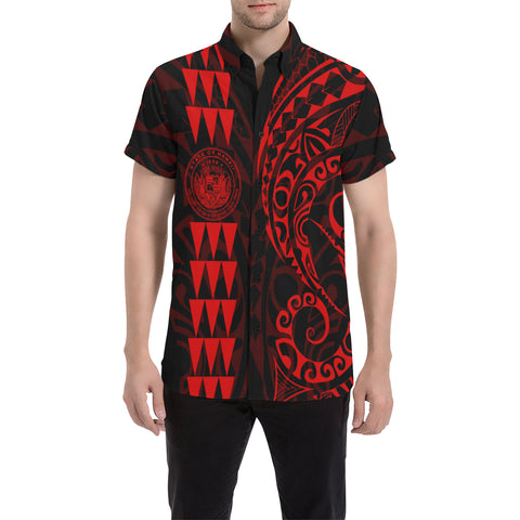 Image of Hawaii Coat Of Arms Short Sleeve Shirt Red - AH J4