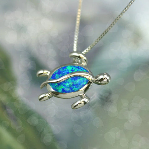 Hawaiian Blue Opal Sea Turtle Pendant -AH - J7 - Alohawaii