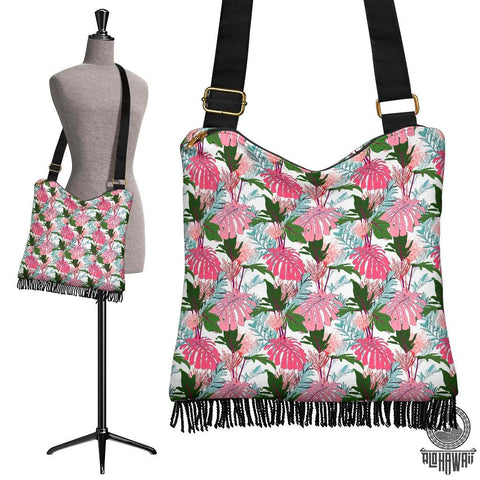 Image of Hawaii Pink Monstera And Green Tropical Leaves White Crossbody Boho Handbag - AH - J71 - Alohawaii