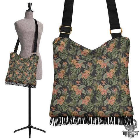 Image of Hawaii Tropical Hibiscus Monstera Leaf Crossbody Boho Handbag - AH - J71 - Alohawaii