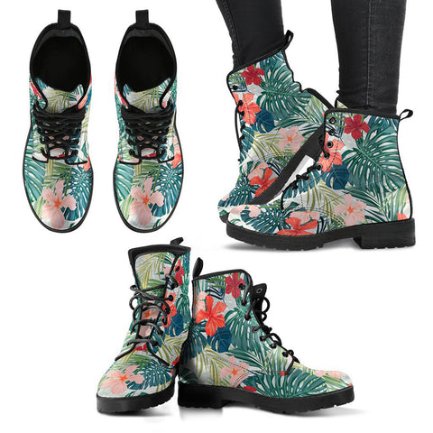 Hawaii Hibiscus Palm Leather Boots - AH J2