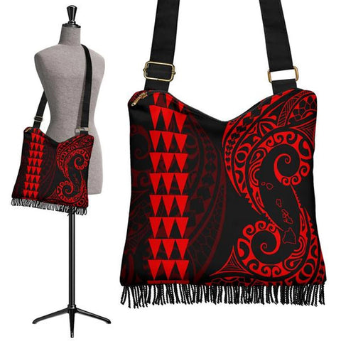 Hawaii Map Polynesian Crossbody Boho Handbag Red - AH J4