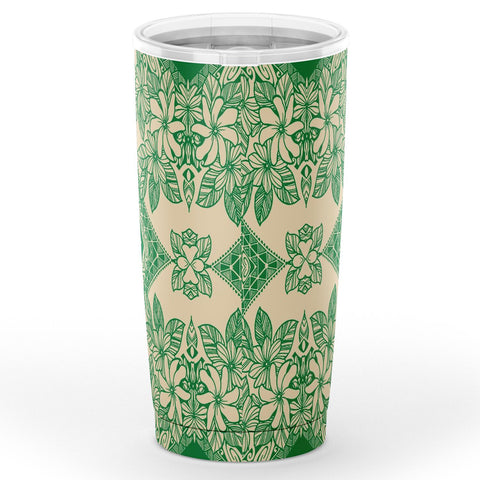 Hawaii Polynesian Plumeria Mix Green Tumbler - AH - J6 - Alohawaii